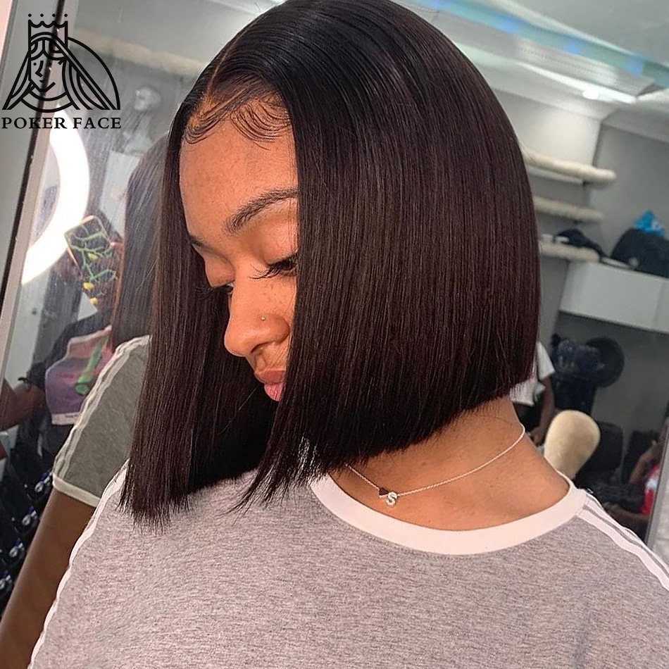Brazilian Remy Short Bob Lace Front Human Hair Wigs Natural Straight 13x4 Lace Frontal Wigs Pre Plucked Bleached Knots