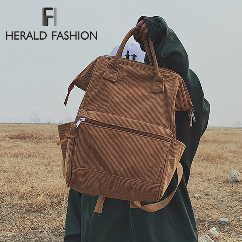 Bags Backpacks Casual-Style Winter Corduroy Student Large-Capacity Women Herald Fashion