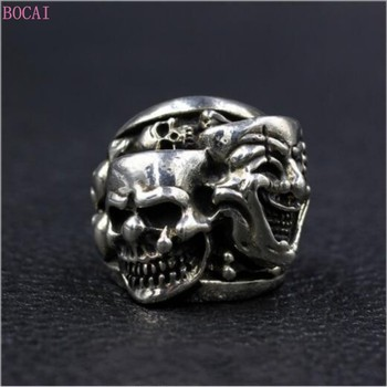 Thai silver rings for men Funny funny face Skull Ring fashion trendy punk domineering double ghost S925 pure silver funny ring фото