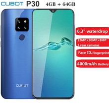 Cubot P30 Smartphone 6.3 inch 2340x1080p 4GB+64GB Android 9.0 Pie Helio P23 AI Rear Triple Cameras F