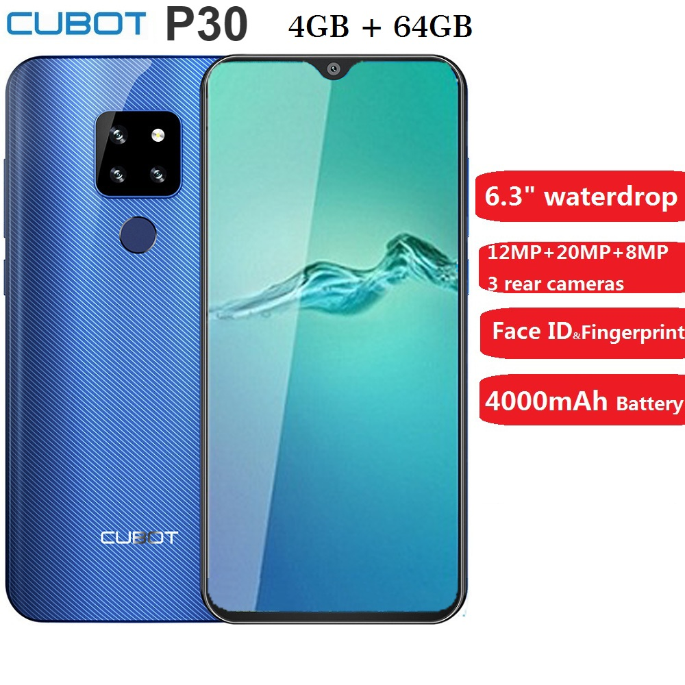 Cubot P30 Smartphone 6.3 Inch 2340x1080p 4GB+64GB Android 9.0 Pie Helio P23 AI Rear Triple Cameras Face ID 4000mAh Mobile Phone