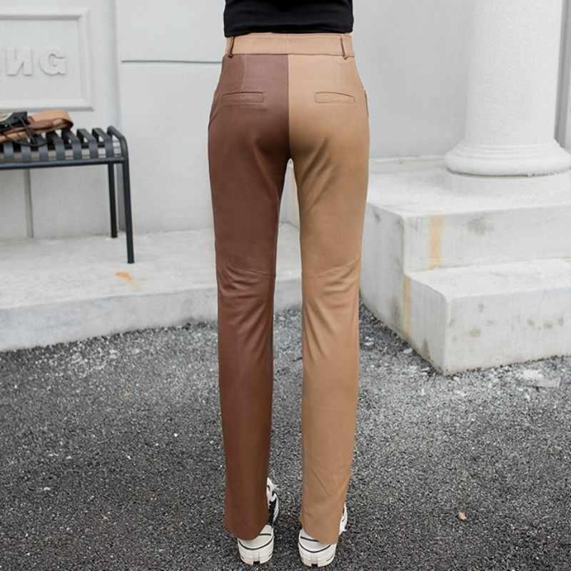 Moda mujer colores mixtos piel de oveja cuero genuino lápiz Pantalones Casual mujer Delgado ajuste tobillo longitud pantalones Streetwear