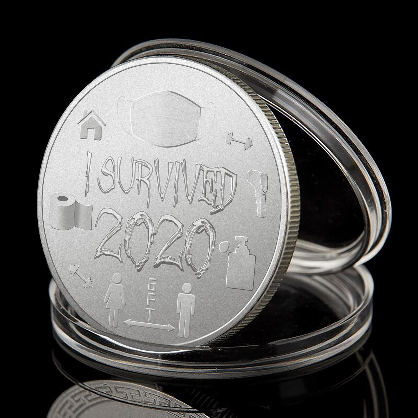 Взрослый Цвет серебристый, золотой монеты я пережила 2020 памятная монета воспоминания о былом подарок особый сувенир счастливая монета Колл...
