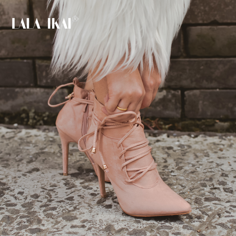 LALA IKAI Lace-up Sexy Winter Ankle Boots Women High Heels Short Plush Pointed Toe Fashion Motorcycle Boots 014C0883 -3