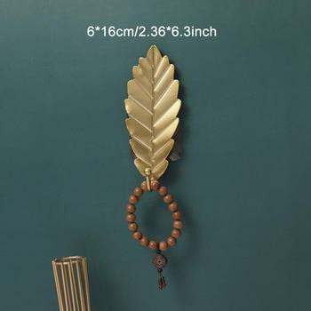 Leaves Shape Iron Hook Nordic Wall Decoration Leaf Key Watch Bags Jewelry Haning Hook Mutifuctional Wall Hanger Rack 22