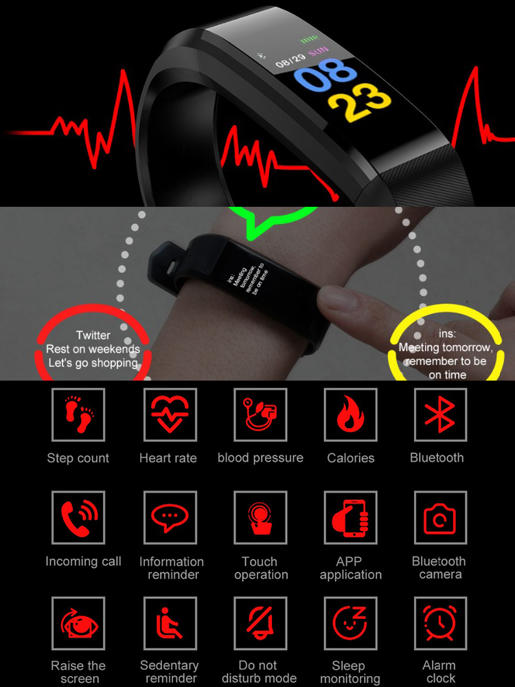 Watch Women Wristband Blood-Pressure-Pedometer Heart-Rate Sport Waterproof Android LED