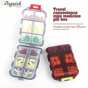 12 siatki pudełko na pigułki podróż wygodne tabletki na leki dozownik pojemnik na leki Tablet Pillbox Case pojemnik na leki rozdzielacze tanie i dobre opinie Voguish CN (pochodzenie) Przypadki i rozgałęźniki pigułka Plastic Pill storage box About 10*7*3 cm 12 grids medicine box