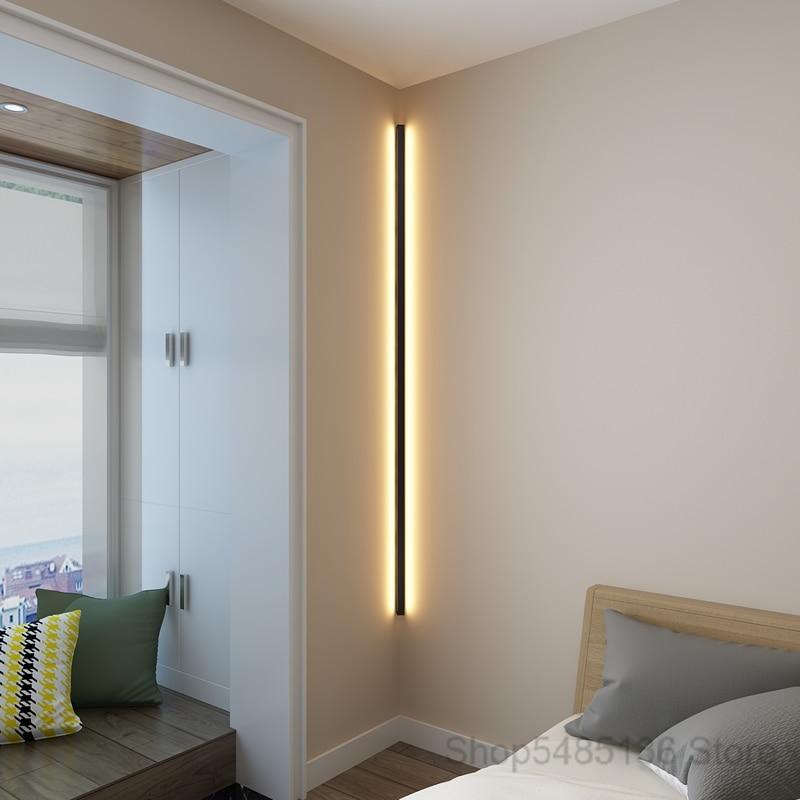 Canto moderno e minimalista conduziu a lâmpada de parede interior simples linha luz luminárias arandelas parede da escada quarto cabeceira iluminação para casa decoração - 3