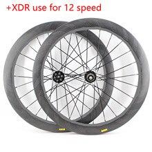 Novo 700c 58mm de fibra carbono da bicicleta estrada estriado clincher jantes freio a disco da bicicleta através do eixo cubos xdr 12 velocidade rodado 454 navio livre