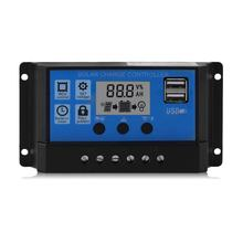 Profesional Dual USB 12 V/24 V 10A Solar Panel Controller Baterai Charge Regulator LCD Display Regulator Solar Controller(China)