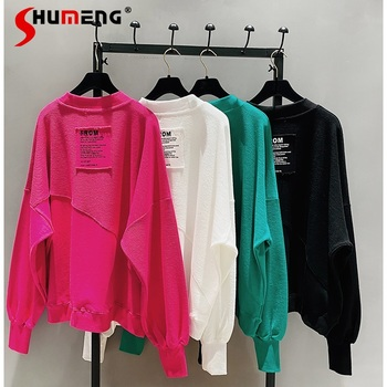 2021 New Spring Autumn Loose Korean Style Loose Women Top Cotton Ins Hoodie Round Neck Simple Pullover Sweatshirt 1