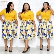 Bohisen африканские платья для женщин новый летний сексуальный стиль мода печать плюс размер платье L-3х одежды