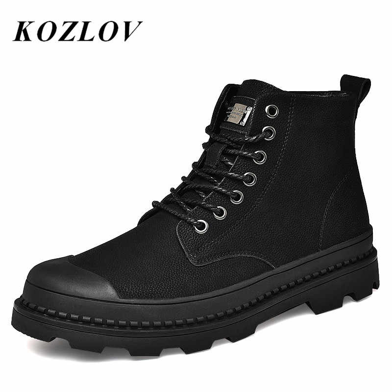 Inverno Zip Alla Caviglia Stivali Degli Uomini Del Cuoio Genuino Casual Scarpe di Pelliccia Caldo di Modo Mens Lavoro Stivali Da Cowboy Botas Plus Size KOZLOV