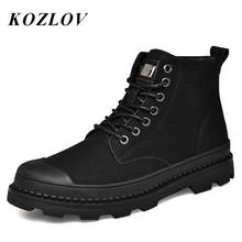 Zima kostki Zip buty męskie oryginalne skórzane buty w stylu casual moda ciepłe futro mężczyzna pracy wojskowe buty kowbojskie buty Botas Plus rozmiar KOZLOV tanie tanio Podstawowe Prawdziwej skóry Skóra bydlęca ANKLE Stałe RUBBER Pasuje prawda na wymiar weź swój normalny rozmiar Okrągły nosek