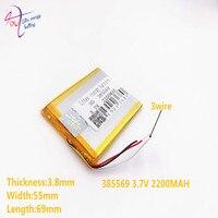3 satır 3.7V 2200mAH 385569 405570 (polimer lityum iyon batarya) Li-ion pil için Mp3 MP4 MP5 GPS