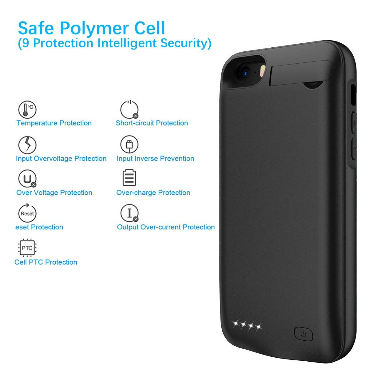 Для iPhone SE 5SE 5 5S 4500mAh аккумуляторная Внешняя батарея резервного копирования защитный чехол зарядное устройство крышка с Скрытая скобка