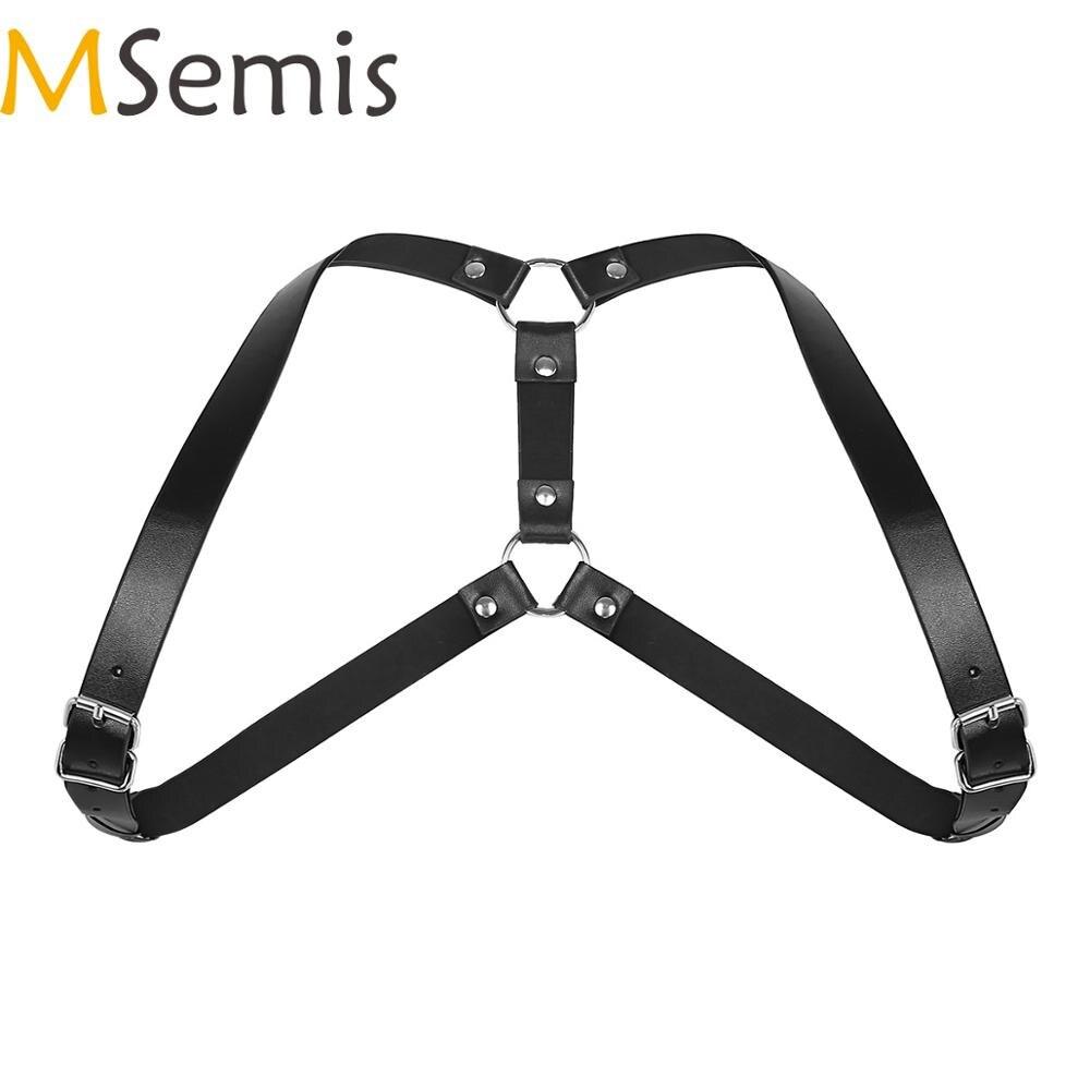 MSemis Mens Harness Lingerie  Adjustable Imitation Leather Shoulder Harness Men Belt Straps Punk Costume With O-Rings Buckles