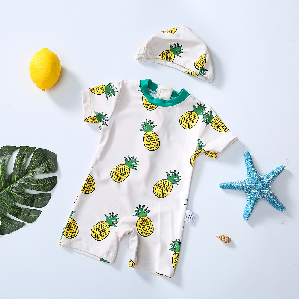 2019 New Style Men And Women Children One-piece KID'S Swimwear Fruit Pineapple Pattern Quick-Dry Spa Resort