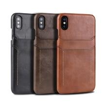 Rétro en cuir véritable couverture arrière étui pour iphone XR XS 11Pro Max 7 8 Plus double carte étui pour galaxy S8 S9 Note 9 10 MYL 1V3