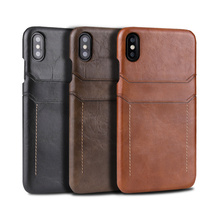 Retro genuine leather back cover case for iPhone XR XS 11Pro Max 7 8 Plus MYL 1V3 dual card slot case for galaxy S8 S9 Note 9 10
