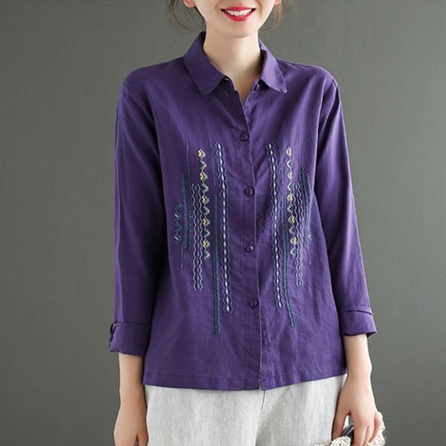 Plus Size Women Blouses Shirts New 2020 Autumn Vintage Embroidery High Quality Female Long Sleeve Cotton Linen Tops Shirt P1287 3