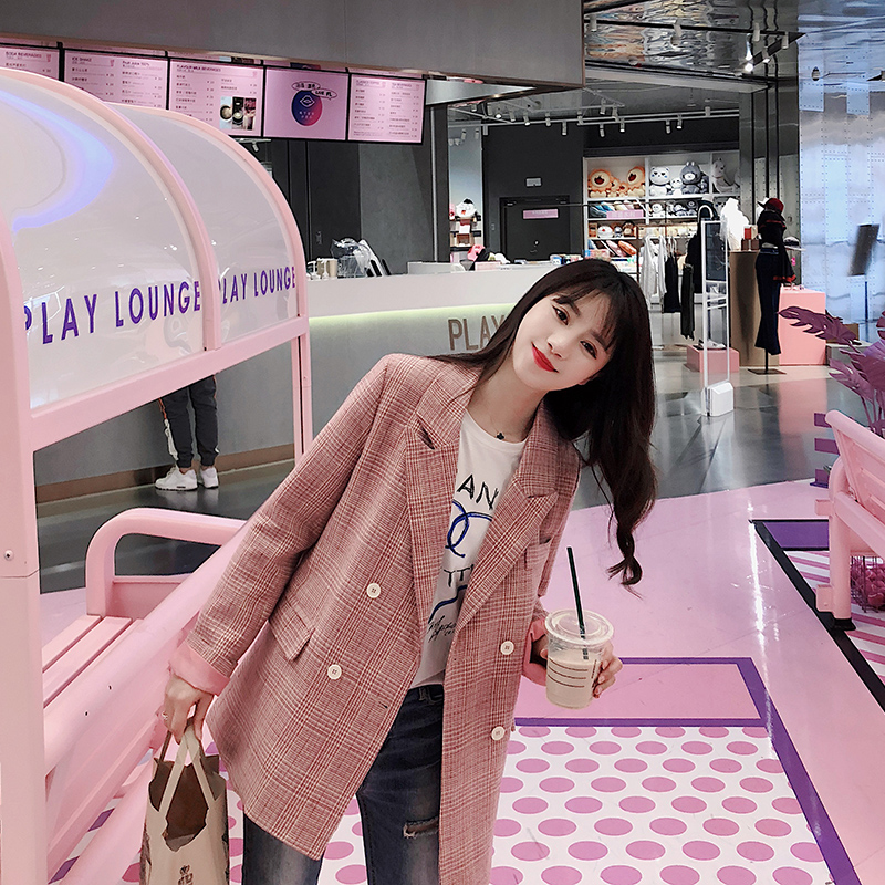 Plaid Korean Ladies Blazer Pink Stylish Loose Casual Suit Jacket Bleiser Mujer Vintage Spring Autumn Women Blazer New MM60NXZ