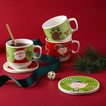 Christmas Ceramic Coffee Mugs Creative Gift European with Spoon Coffee Mug Vintage Living Room Kaffeetasse Home Supplies YY50CM