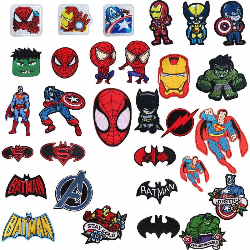 1Pcs Nieuwe Collectie Spider Movie Patches Ijzer Op Hero Applicaties Moive Ster Ijzer Op Batman Borduurwerk Badge Kleding Accessoire