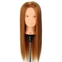 22'' 80% Real Hair Hairdressing Mannequin Head With Makeup Hair Training Styling Wig Head With Stand Head Cut Curly Professional
