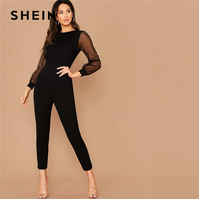 SHEIN Black Pearls Mesh Sleeve Form Fitted Jumpsuit Without Belt Women Spring O-Neck High Waist Carrot Cropped Elegant Jumpsuits