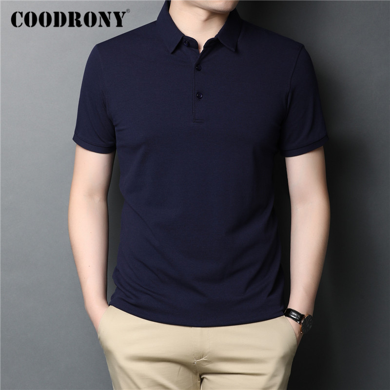 COODRONY Brand Spring Summer Short Sleeve T-Shirt Classic Pure Color T Shirt Men Cotton Turn-down Collar Tee Shirt Homme C5050S