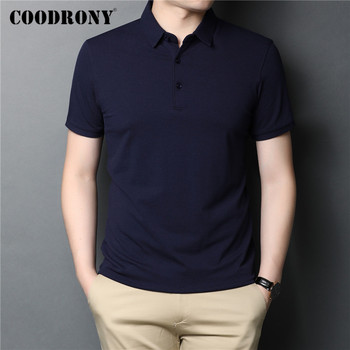 COODRONY Brand Spring Summer Short Sleeve T-Shirt Classic Pure Color T Shirt Men Cotton Turn-down Collar Tee Homme C5050S