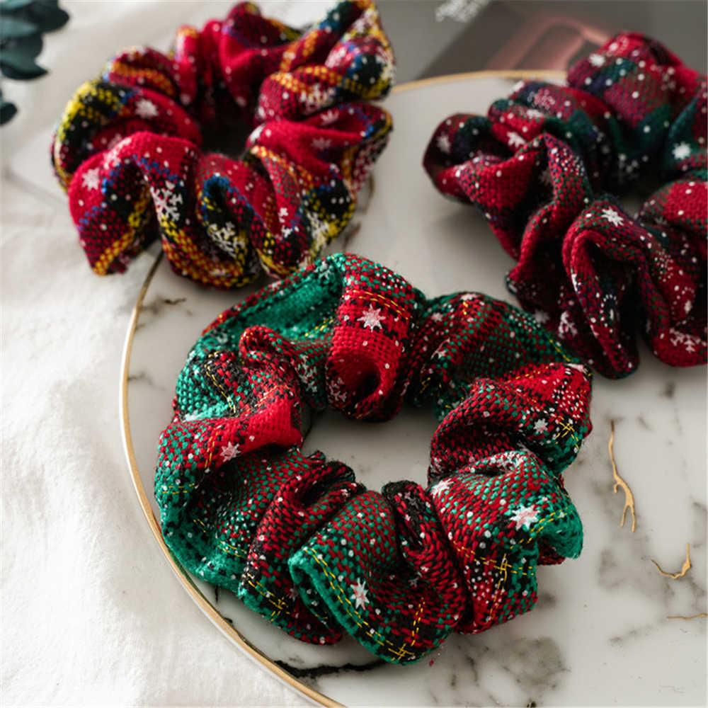 Noel yeni kalın bağırsak daire saç bantları Scrunchies kadın saç bağları kızlar at kuyruğu tutucu festivali bez saç aksesuarları