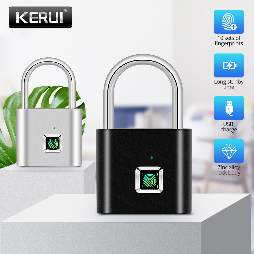 KERUI Fingerprint Padlock Intelligent Electronic USB Rechargeable Anti-Theft Security Keyless Electronic Bag Luggage Case Lock