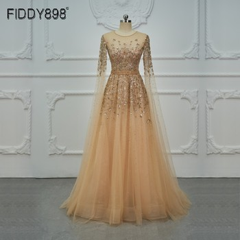 Dubai Luxury Evening Dress Long Sleeves A-Line Crystal Beaded Prom 2020 Gown With Cape Robe De Soiree  OEV-L4245 - discount item  40% OFF Special Occasion Dresses