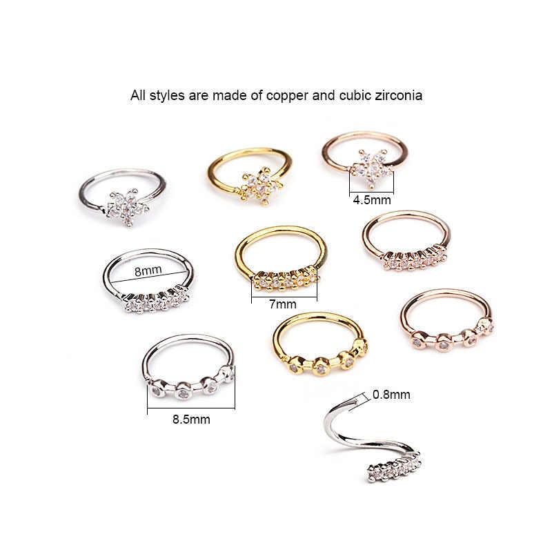 1PC כסף זהב פירסינג גוף תכשיטי Cz האף חישוק נחירי טבעת זעיר קריסטל זירקון פרח כוכב Helix סחוס Tragus עגיל
