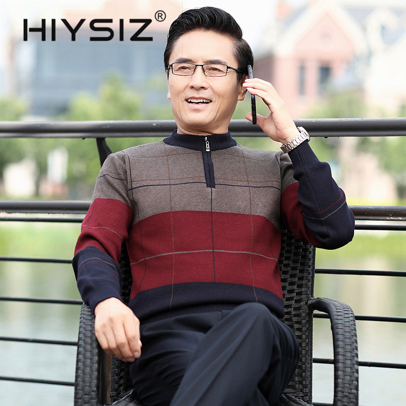 HIYSIZ Brand Sweater Men Streetwear Autumn Winter Men Fashion Striped Pull Homme Thick Warm cotton Sweaters U3003