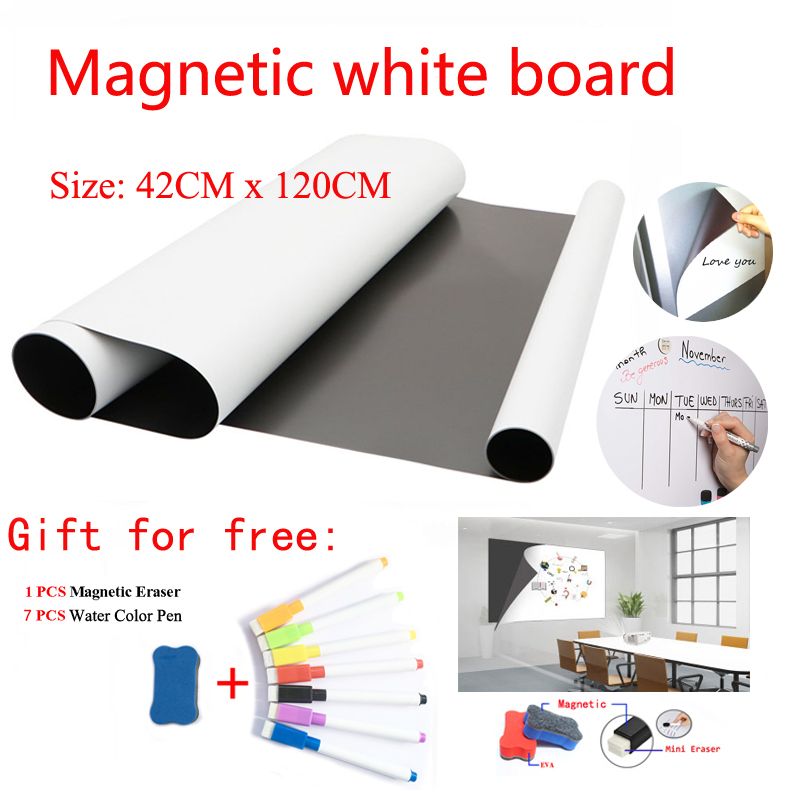 Size 42CMx120CM Magnetic WhiteBoard Fridge Magnets Dry-erase Calendar Kids School Board Memo White Board Gift Pen And Erasser