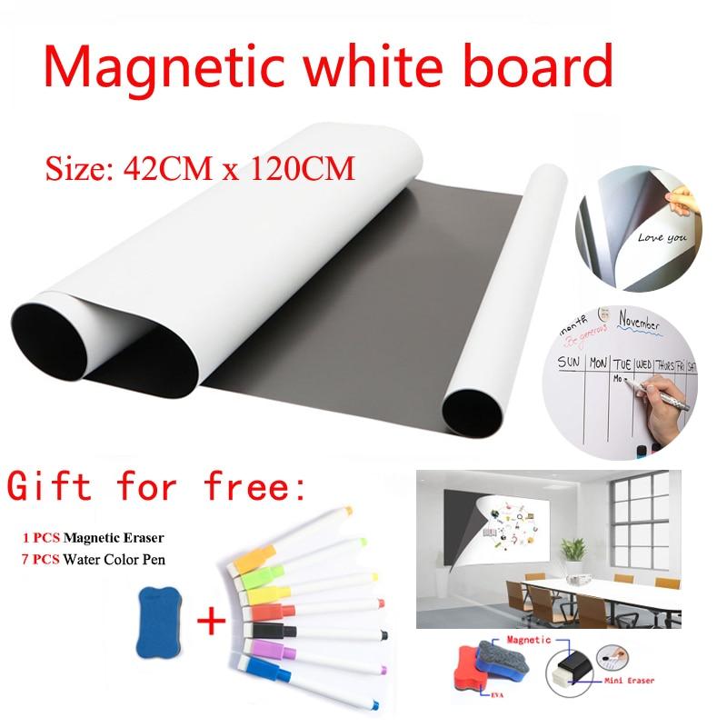 Size 42CMx120CM Magnetic WhiteBoard Fridge Magnets Dry-erase Calendar Kids School Board Memo White Board Gift Pen And Erasser