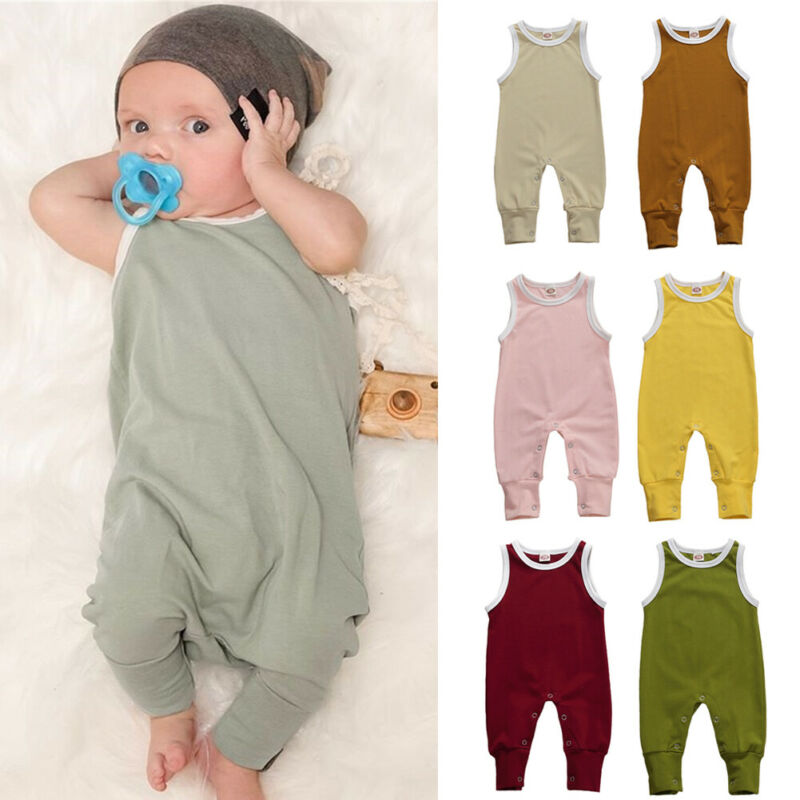 Patchwork Striped Newborn Baby Boy Girl Sleeveless Romper Jumpsuit High Waist Cotton Linen Bodysuit One-Pieces Clothes