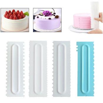 3PCS Cake Scraper Smoother Cream Icing Comb Fondant Spatula Baking Pastry Tool