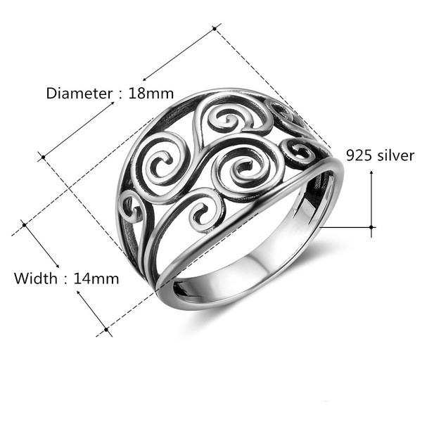Fashion 925 Silver Plated Owl Finger Rings Unisex Ring Hollow Out Wide Ring