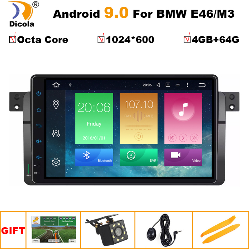 9'' IPS DSP 8 co9 IPS 4G RAM Android 9 Car radio GPS Navigation for BMW E46 M3 Rover 3 Series multimedia dvd Stereo fm obd2