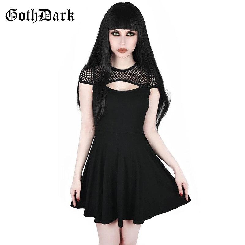 Goth Dark Black Grunge Gothic Dresses Women Harajuku Hollow Out Mesh Pleated Vintage Mini Dress Autumn 2019  Aesthetic Fashion