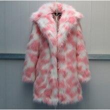 Plegie High Quality Faux Fur Coat Women 2020 Winter Thick Luxury Faux Fox Warm Outwear Pink Green 6XL Faux Fur Jacket Long Coats