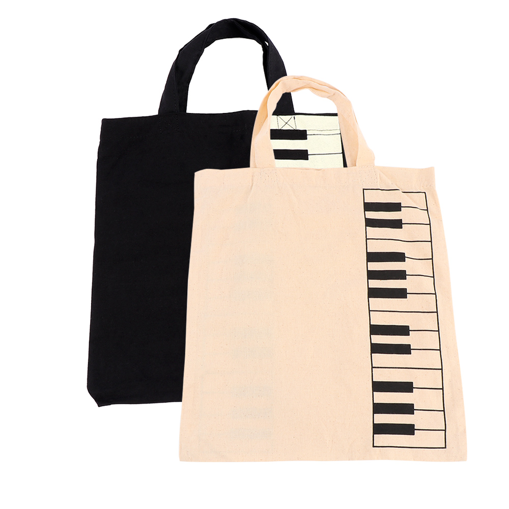 Portable Cotton And Linen Music Score Bag Keyboard Pattern Musical Bags Handbag Shopping Bag