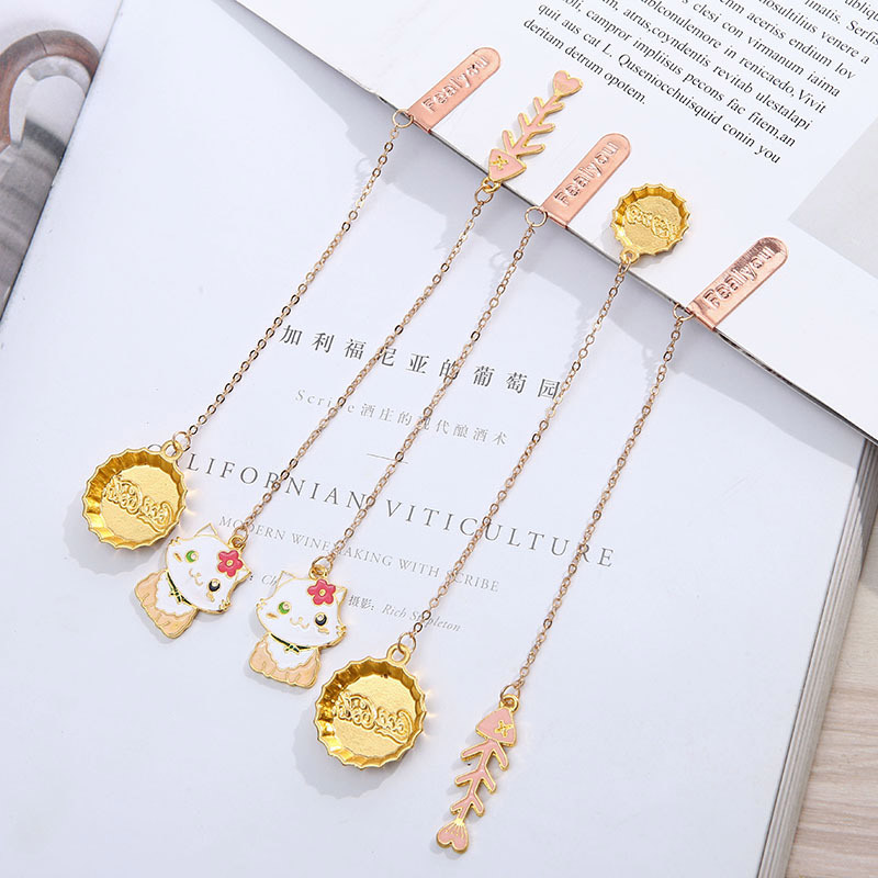 Cute Cat Fish Bones Bookmarks Creative Metallic Pendant Book Mark For Book Kids Gift School Office Supplies Korean Stationery