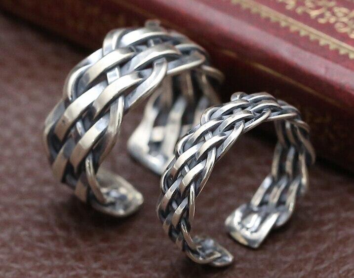 S925 Sterling Zilver Thai zilveren sieraden hand geweven ring voor mannen en vrouwen mode eenvoudige ring verjaardagscadeau paar accessoires