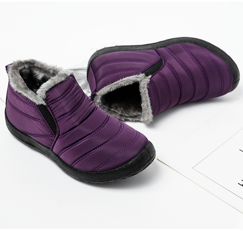 Snow Boots Women Shoes Warm Plush Fur Ankle Boots Winter Female Slip On Flat Casual Shoes Waterproof Ultralight Footwear 21