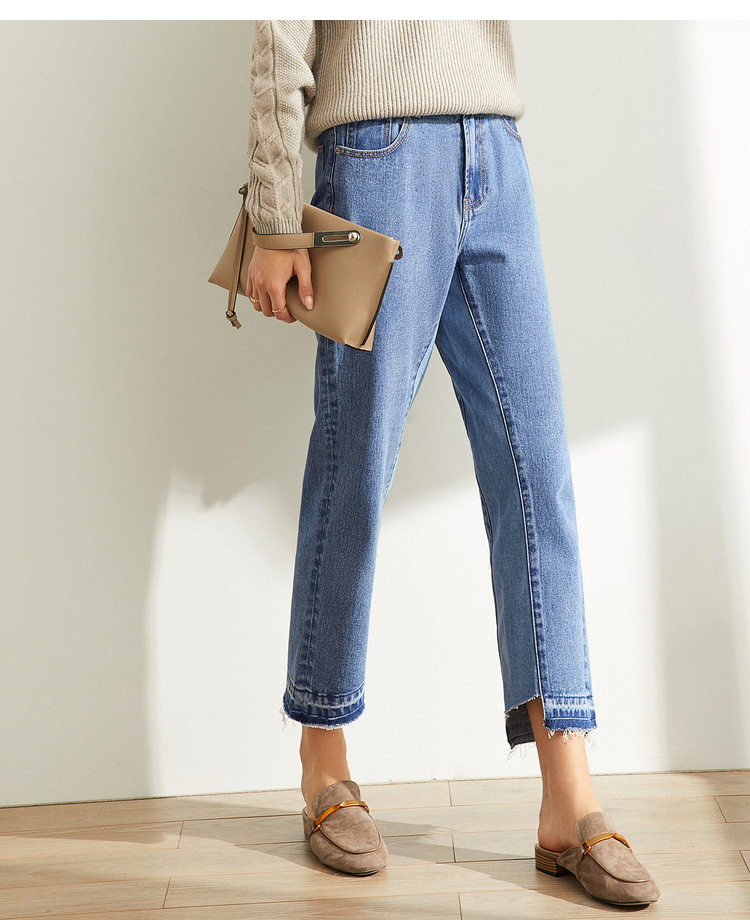Amii Autumn Women Korean Flash Spliced Jeans Female Casual Irregular High Waist Zipper Pants 11940408